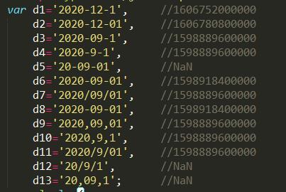 js时间戳错误定义列表